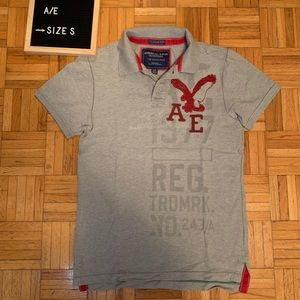 American Eagle Vintage Graphic Distressed Polo